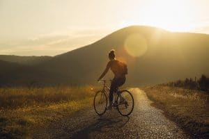 Photo of biker at sunset | SEO Tips for Therapists | Optimize photos | Simplified SEO Consulting