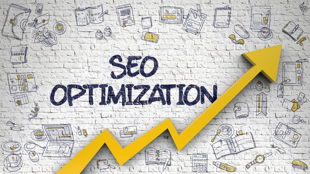 White Brickwall with SEO Optimization Inscription and Orange Arrow. Increase Concept. SEO Optimization Drawn on White Wall. Illustration with Doodle Icons. Illustrating how Simplified SEO Consulting helps counselors and small business owners in the healthcare field improve their SEO