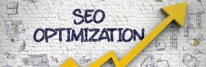 """The words """"SEO optimization"""" and an arrow going up to illustrate how we help therapists, counselors and psychiatrists get mental health websites to the top of Google."""