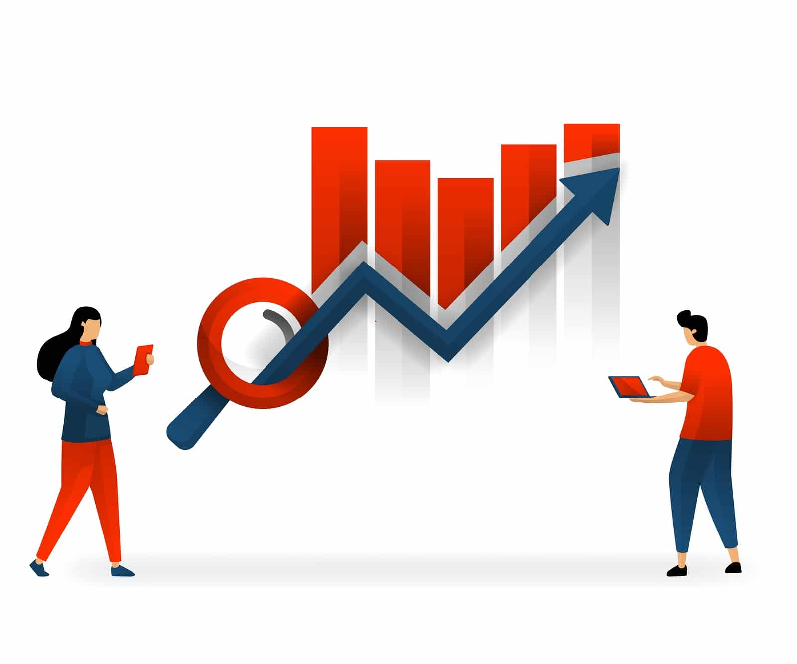 Illustration of a man and woman looking at her SEO data increases on a red bar graph | seo consulting services | seo for therapists