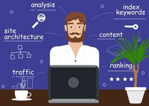 Illustration of a man sitting at a laptop looking at his SEO data surrounded by the words analysis, index keywords, site architecture, content, ranking, and traffic |  Simplified SEO Consulting