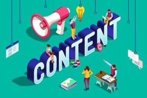"""The word """"content"""" with small people and symbols around representing how adding content to a site can help with seo for psychologists, psychotherapists & psychiatrists in private practice."""