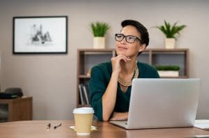 Private practice owner thinking about what to write a blog post about | SEO for private practice owners | Simplified SEO Consulting