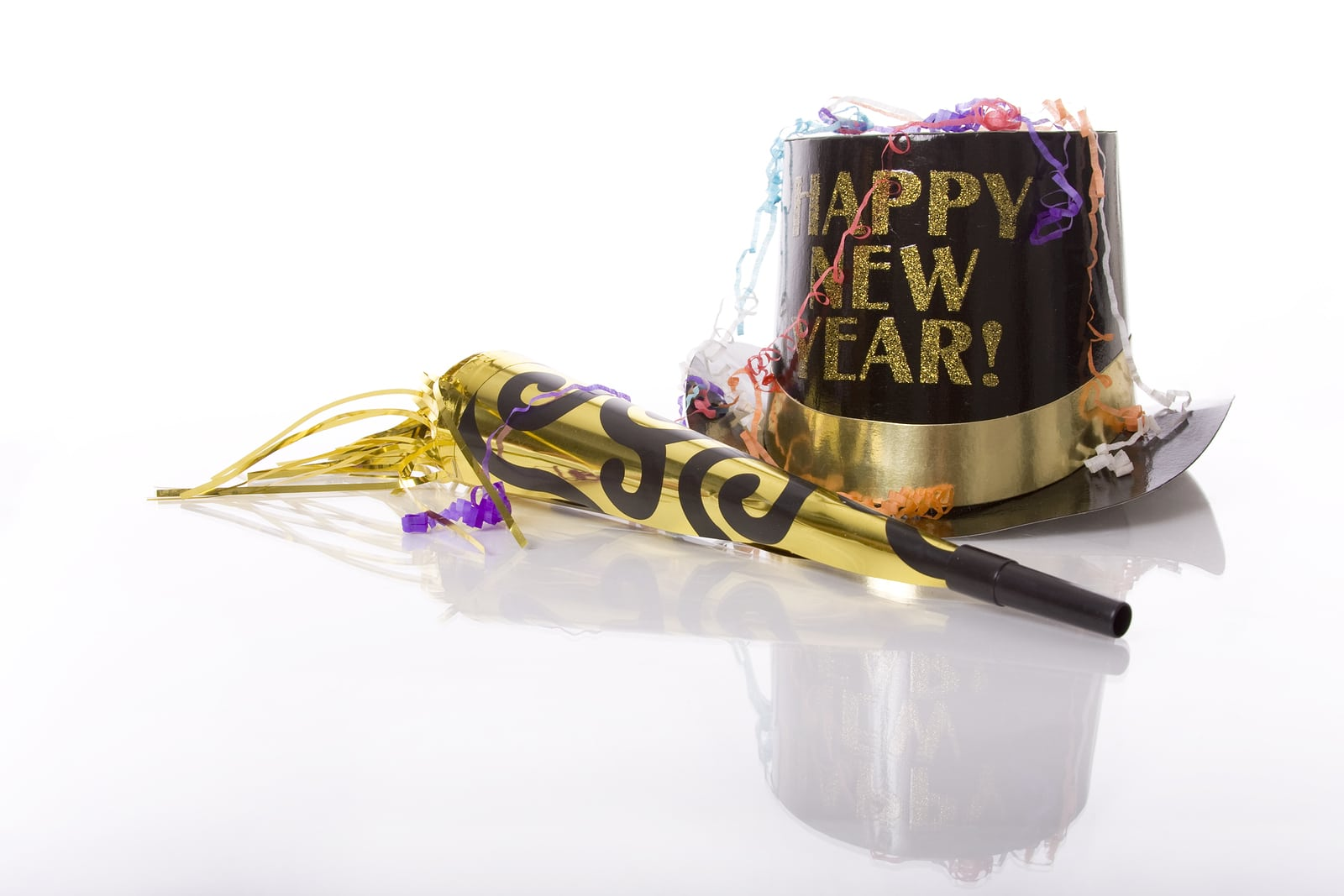 """Party favors including a hat that says """"happy new year."""" This blog post is about setting SEO marketing goals for therapists. Making sure to set realistic goals for website search engine optimization."""