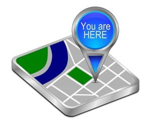 "3D illustration with the words ""You are Here"" on a map to help business owners reading this blog post who looked at the blog post title come back and find their spot in then post."