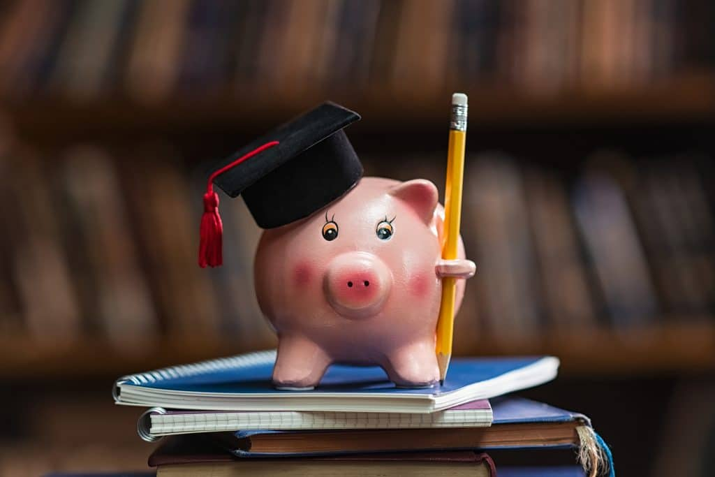 Pink piggy bank wearing graduation cap and holding pencil on pile of books in college library. Student loan and debt concept. Close up of piggybank with black graduate hat. Jobs for recent graduates doing SEO consulting online to work from home.