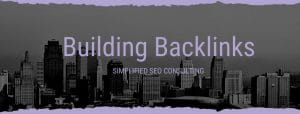 """Image of a city with the words"""" Building Backlinks Simplified SEO Consulting"""" to promote our upcoming Building Backlinks training for private practice owners."""