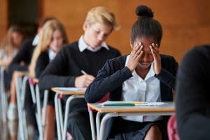 Photo of an anxious teen student. It represents how SEO can help education providers like tutors and advocates serve more of the students they can help.