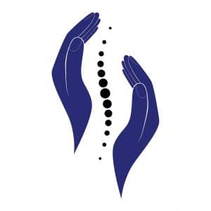 Chiropractic spine and hands logo. Represents how SEO can help a chiropractor attract more patients.