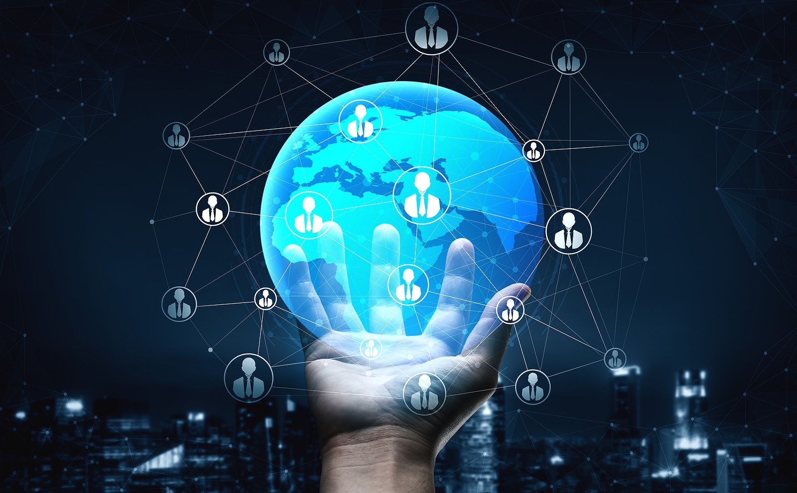 Photo of a hand holding a globe with connections to show the importance of backlinks to connect sites to one another and improve rankings on Google.