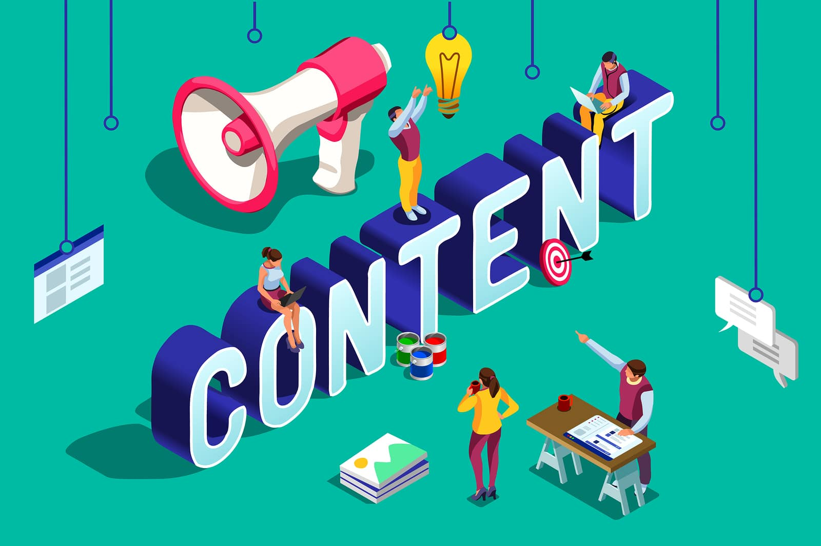 The word content in block letters representing how high quality content is an important SEO strategy for therapists, psychologists, psychiatrists, birth workers, SLPs, educators and others in the helping profession.