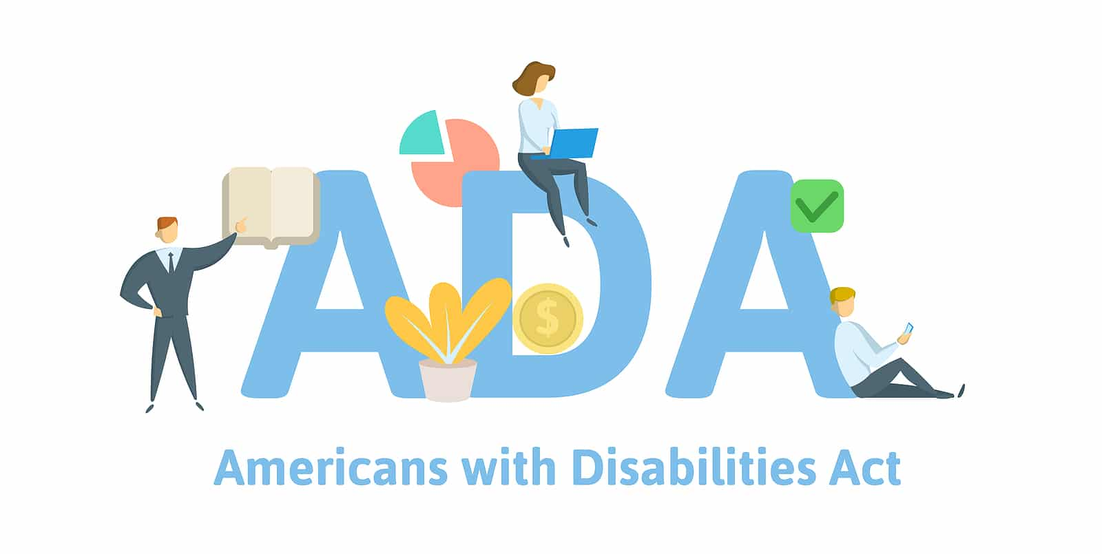 "The letters ""ADA"" and ""Americans With Disabilities Act"" and people around it for Accessibility when using headings and subheadings in blog posts."