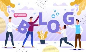 Illustration of people holding up the letters to the word blog. They are symbolizing the importance of bloggin in terms of SEO for therapists.
