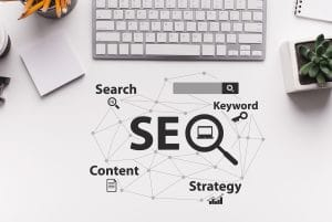 Top down perspective of SEO graphic next to a keyboard. Understanding SEO can be a hard task, but we can help. Simplified SEO Consulting offers seo help for therapists. Contact us today for help with seo for mental health professionals