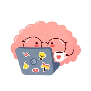 Image of a cartoon brain wearing glasses holding a coffee cup and using a laptop. This image illustrates how private practice therapists can use an SEO consulting service to boost their SEO rankings.