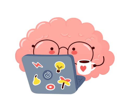 Image of a cartoon brain drinking coffee and working on a laptop. This photo could represent how an SEO Specialist for counselors can help improve google rankings for private practice therapists. 65202   65201