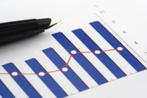 Image of a blue bar graph on paper with a pen sitting next to it. There are many reasons to track data related to SEO. You can read more about why you should track data for SEO here.