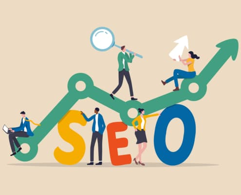 Graphic of individuals climbing a graph representing their SEO growth for Simplified SEO Consulting.
