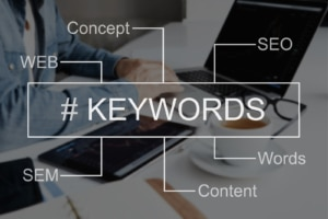 infographic that says #keywords and the words concept, seo, web, sem, words, and content. Work with an SEO specialist at Simplified SEO Consulting