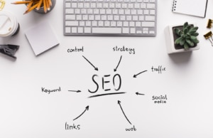 Photo of a keyboard and SEO words written on paper. Simplified SEO Consulting can help you navigate all of your SEO needs. Private Practice therapists can use SEO to boost their rankings in Google. Backlinks can boost your SEO, but the wrong backlinks can hurt.