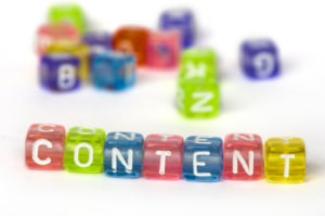 """Image of colorful beads spelling """"content."""" This image represents how you can work with an SEO services consultant for your private practice website to learn more about content."""