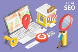 A graphic of a laptop, map, and other parts of local SEO. Contact Simplified SEO to learn about NAP SEO marketing for therapists. We offer SEO training and other services.