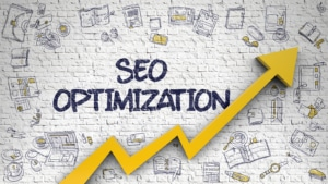 """A graphic of an arrow in an upward trend with the text """"seo optimization"""" on the wall. This represents search optimization for counselors. Simplified SEO can help answer the question """"how to build seo for therapists."""" Contact us for support with SEO for counselors today."""