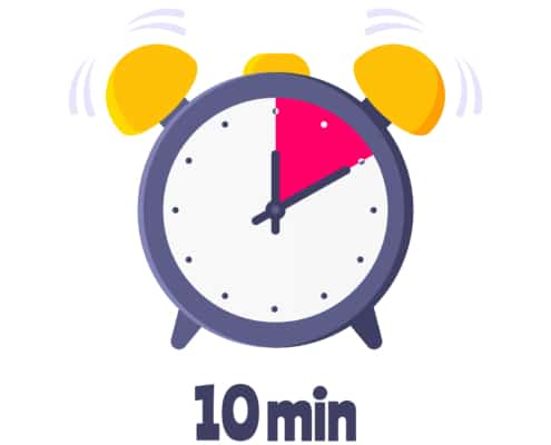 clock with a ten minute timer representing having only ten minutes to work on SEO for counselors. Learn more from an SEO specialist with Simplified SEO Consulting